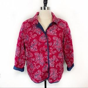 D & Co Reversible Blue Red Quilted Barn Coat sz 2X